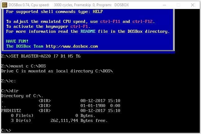 DOSBox emülatörü kurulum adım 3